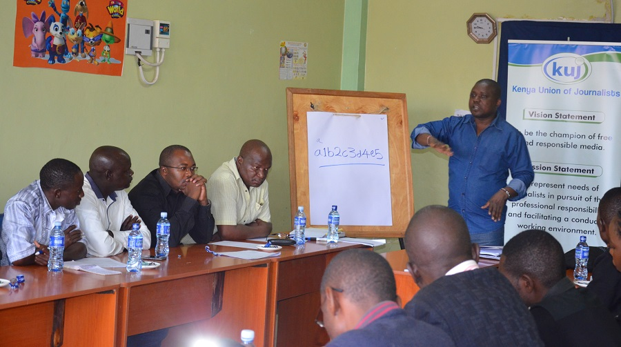 Victor Bwire MCK during his presentation in Kakamega